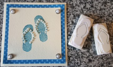 Hand made Flip flops carved from erasers.