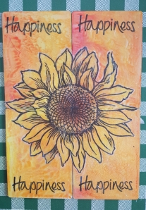 Large sunflower over 4 ATCs
